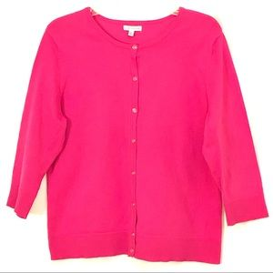 Croft & Barrow Cardigan Pink Button Up Size XL
